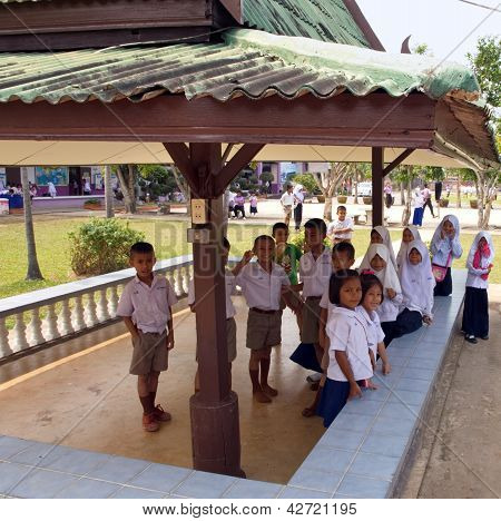Kindergarten Students In A Muslim Public School In A Rural Area Of Pathumthani Province, Thailand