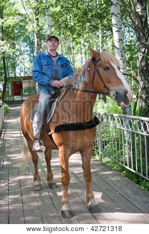 A Man Sits Astride On A Horse