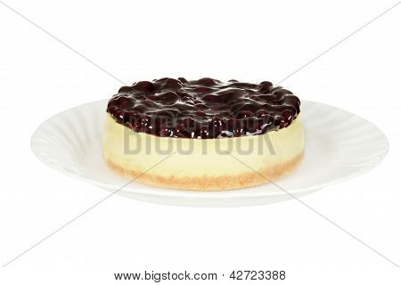isolated blueberry cheesecake