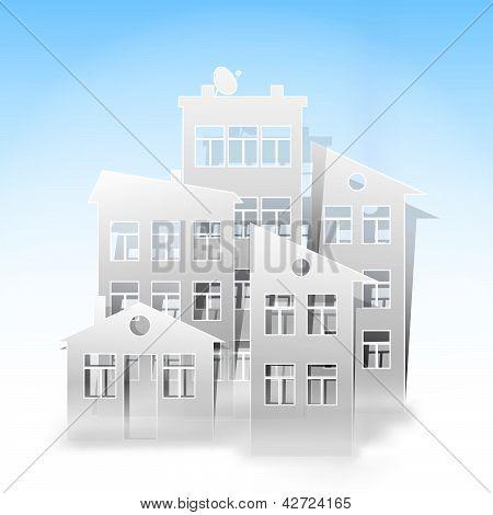 White Houses As Real Estate Symbols On Light Blue