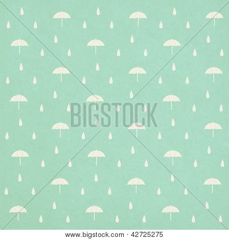 Seamless Raindrops Pattern With Umbrella