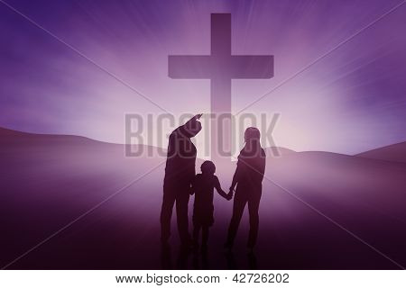 Silhouette Of Christian Family