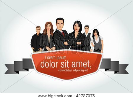 Red template with a group of business people
