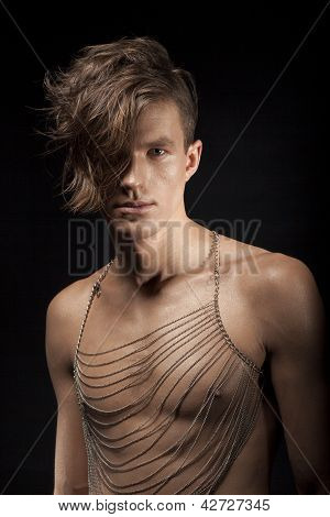Portrait Of Young Romantic Man Metrosexual With Shaddy Hair