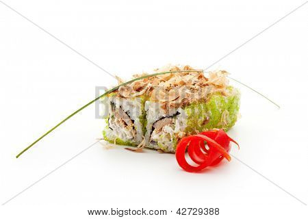 Maki Sushi - Roll with Fried Tuna, Cucumber, Cream Cheese and Tobiko inside. Topped with Dried Shaved Bonito