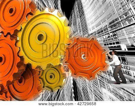 Businessman Turning a Gear