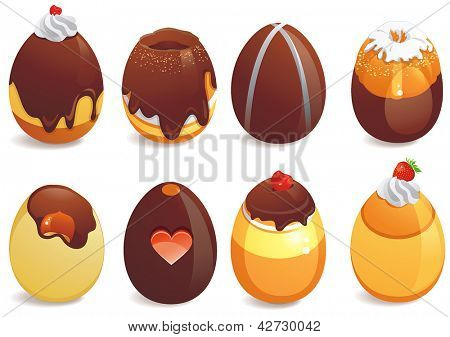 Abstract Happy Easter day vector clip art. Elegant Set of decorated chocolate eggs