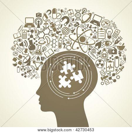 Постер, плакат: Человеческие головы и науки иконки Концепция обучения научных исследований и открытий Современные технологические , холст на подрамнике
