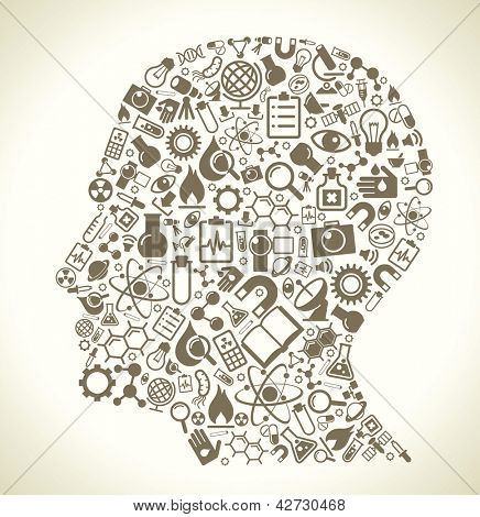 Human head and science icons. The concept of learning, research and discovery. Modern technological solutions. Vector illustration