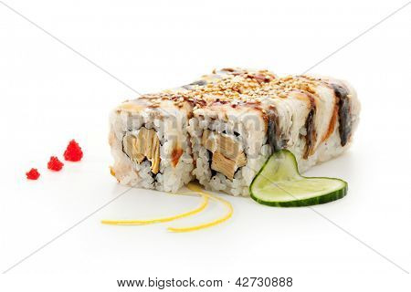 Maki Sushi - Roll made of Tamago (Japanese Omelet) and Cream Cheese  inside. Smoked Eel outside