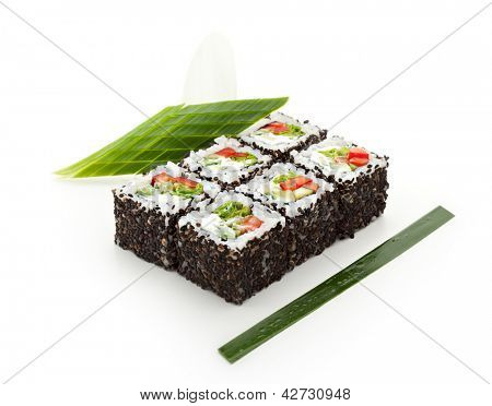 Vegetarian Maki Sushi -  Roll made of Cucumber, Bell Pepper, Salad Leaf and Cream Cheese inside. Sesame outside