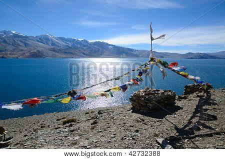 Tibetan Prayer Flags At Lake