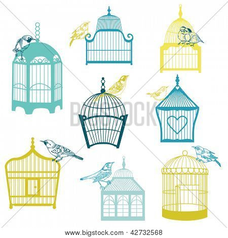 Birds and Birdcages Collection - for design or scrapbook - in vector