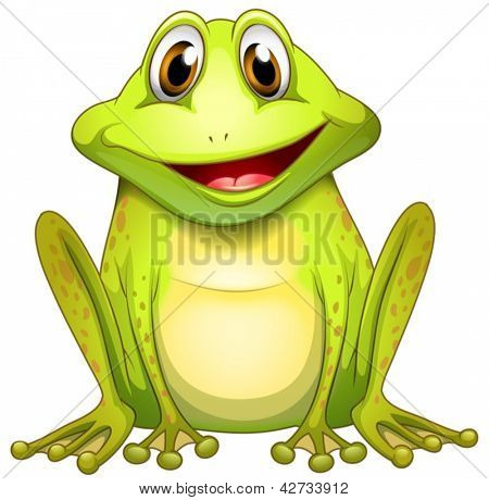 Illustration of a smiling frog on a white background