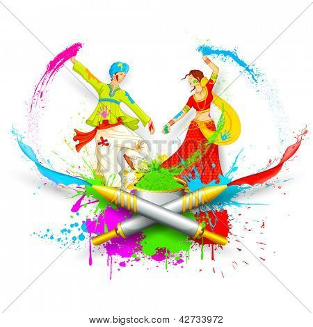 illustration of couple playing Holi with color and pichkari