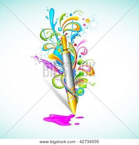 illustration of colorful floral swirl around Holi pichkari