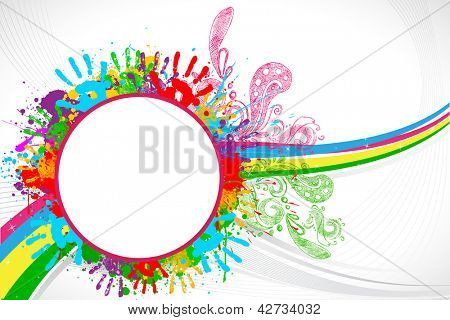 illustration of holi background with hand print and colorful splash