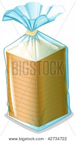 Illustration of a pack of sliced bread on a white background