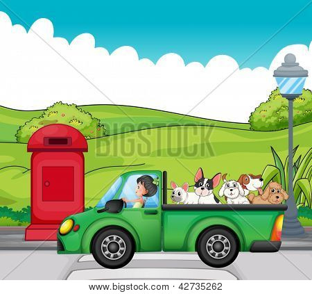 Illustration of a green vehicle with dogs at the back