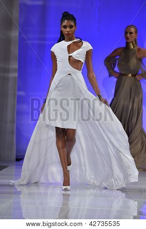 NEW YORK - FEBRUARY 15: Models walking the runway finale at Sinead Fachelli fashion show