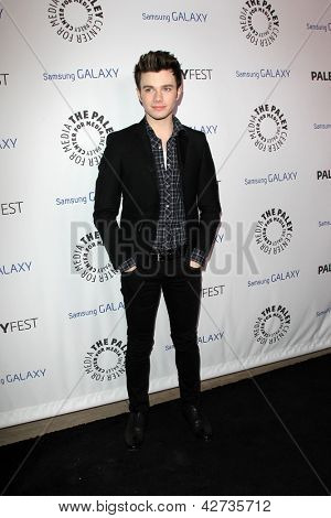 LOS ANGELES - FEB 27:  Chris Colfer arrives at the PaleyFest Icon Award 2013 at the Paley Center For Media on February 27, 2013 in Beverly Hills, CA