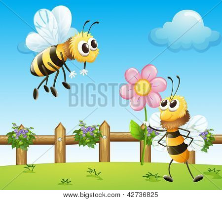 Bee giving a flower to another bee