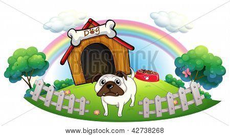 Ilustração de um cão com uma casinha de cachorro em um fundo branco