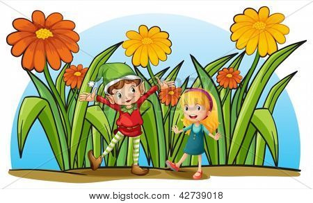 Illustration of an elf and a young girl on a white background