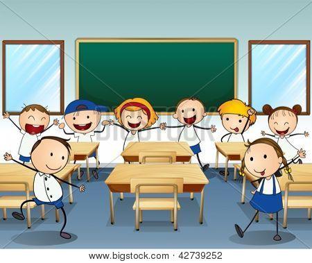 Illustration of children dancing inside the classroom