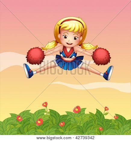 Illustration of a cheerleader in the garden