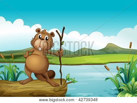 Illustration of a beaver at the river