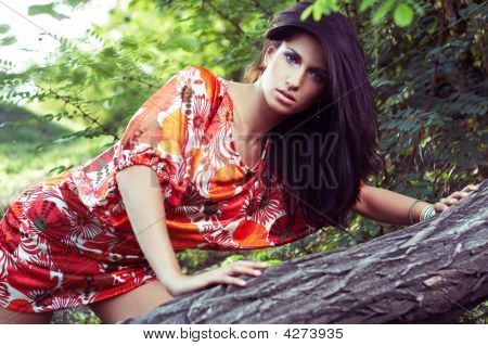 Beautiful Girl In Woods