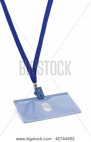 Blue badge on a string isolated on white