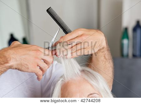 Closeup of hairdresser's hand cutting hair in beauty parlor