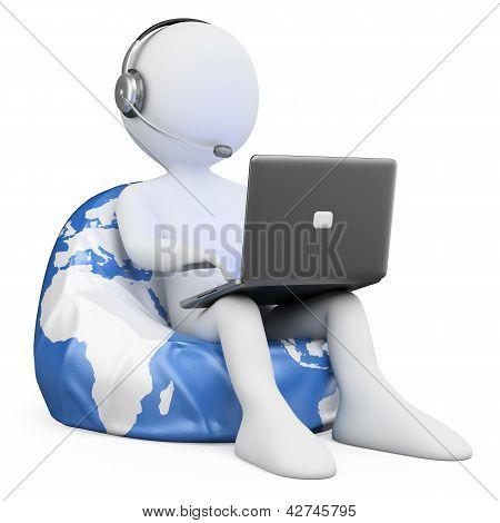 3D White People. Internet Browsing