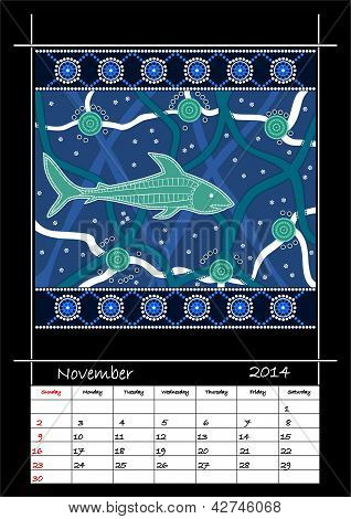 A Calender Based On Aboriginal Style Of Dot Painting Depicting Shark
