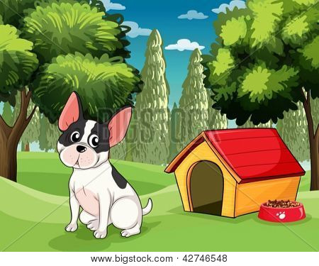 Illustration of a dog  near a doghouse with a dogfood