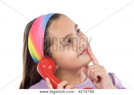 Beautiful Girl With Red Telephone Thinking
