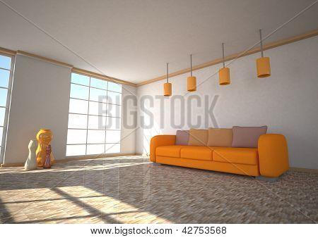 Luz solar de quarto sofá laranja