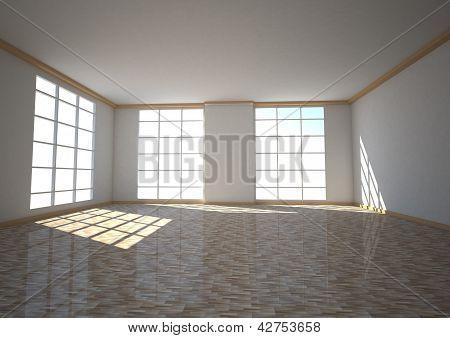 Empty Room Three Windows