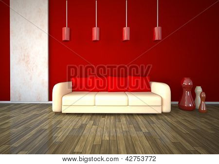 White Marble Red Room Design