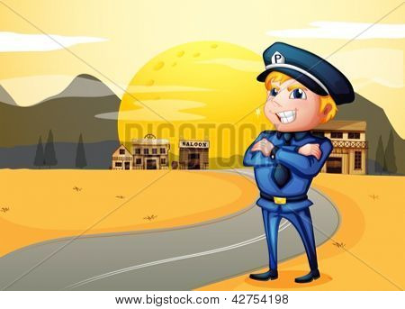Illustration of the police at the street in the middle of the night