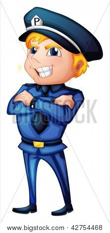 Illustration of a policeman with a complete uniform on a white background