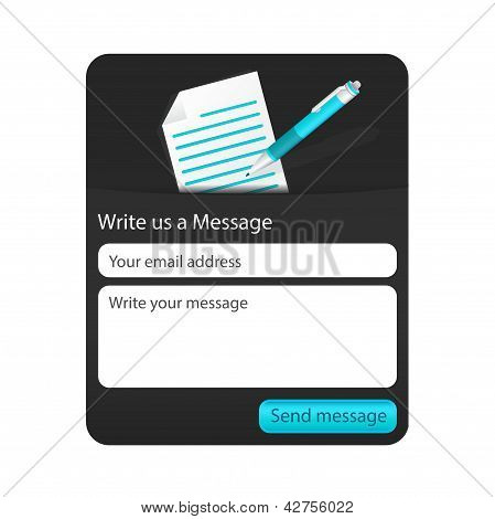 Dark Contact Us Form With Light Document And Blue Ballpoint. Form For Web And Mobile Devices
