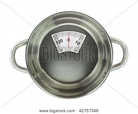 Diet meal. Stainless steel casserole pot with weight scal