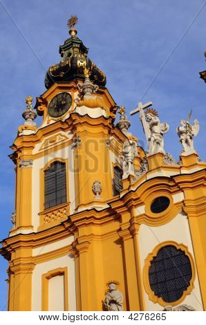Steeple At Benedictine Abbey In Melk, Austria
