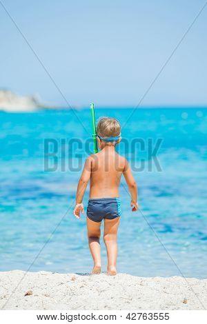 Boy snorkelling sea
