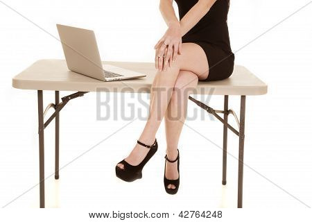 Woman Body And Legs Sit Table Computer