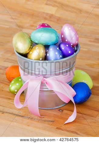 pile of easter eggs in pot