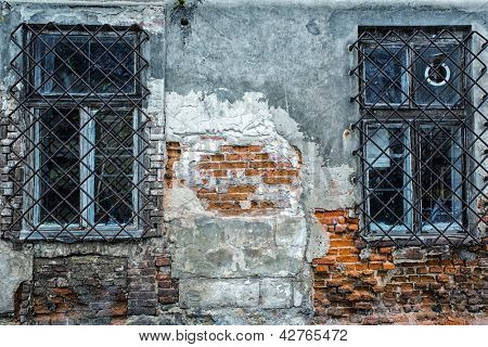 Abandoned old house with windows